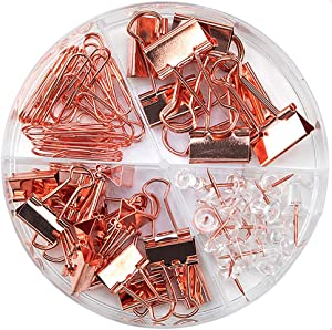 Paper Clips Binder Clips Push Pins Sets with Acrylic Box for Office Supplies, School Accessories and Home Supplies (Rose Gold)