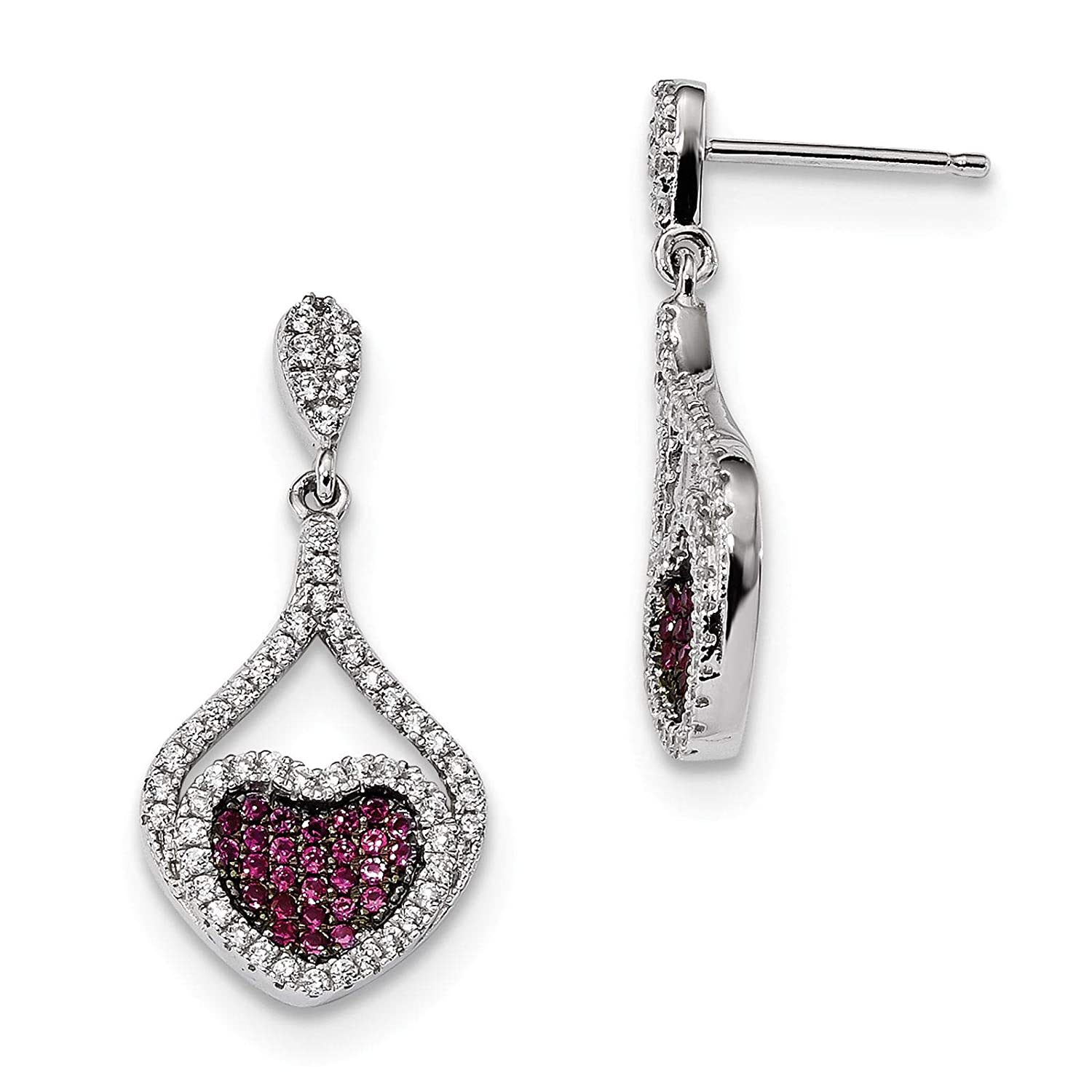 Brilliant Embers 925 Sterling Silver Rhodium-plated Polished Red /& White CZ Heart Dangle Post Earrings