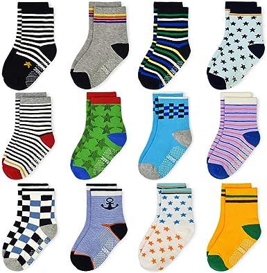 3 Pairs Baby Non Slip Socks Toddler Grip Ankle Socks Cute Baby Boys Girls Cotton Socks Baby Walking Socks Infants Non Skid Socks Kids Animal Printing Cartoon Socks Warm Cosy Socks 1-3 Year Old