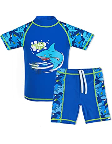 36bb71d9a9da5 TFJH E Kids Boys Swimsuit UPF 50+ UV Sun Protective 2PCS Fish Swimwear
