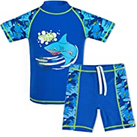 TFJH E Kids Boys Swimsuit UPF 50+ UV Sun Protective 2PCS Fish Swimwear
