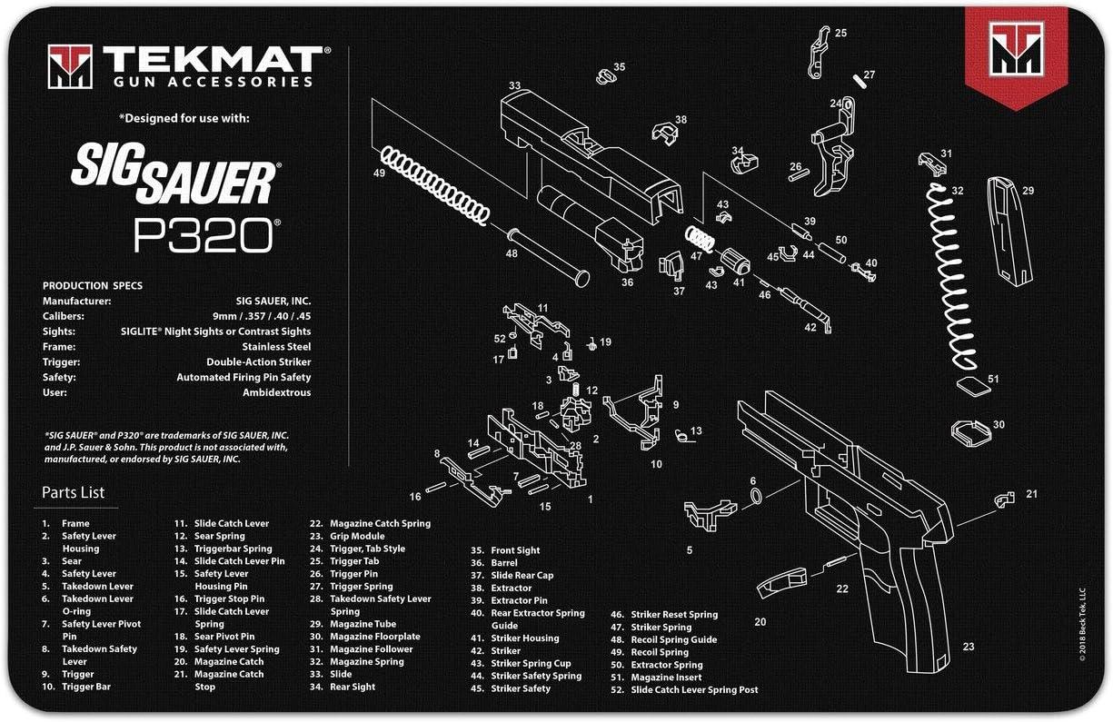 TekMat Tapete para Limpieza con Despiece Sig Sauer P320-43x28cm