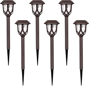 Devo Solar Lights Outdoor, 6 Pack Solar Pathway Lights, Solar Powered Garden Lights, Waterproof LED Solar Landscape Lights for Walkway, Pathway, Lawn, Yard and Driveway