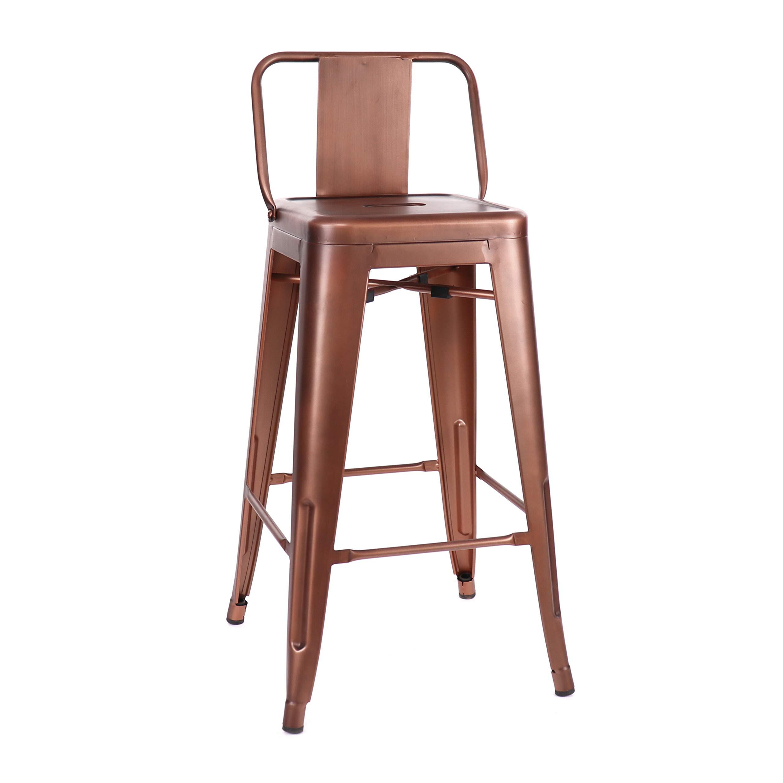 Design Lab MN LS-9102-COPLB Dreux Vintage Copper Low Back Counter Stool Set of 4
