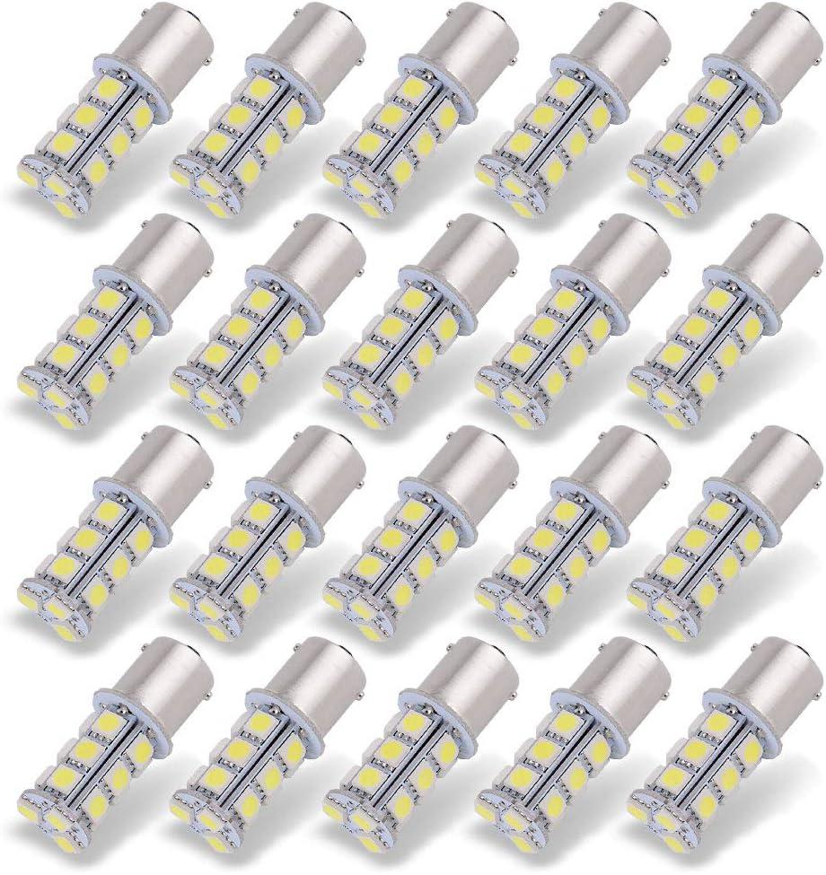 YITAMOTOR 20x 1156 7506 led Bulb White, Super Bright 18-SMD, 1156 BA15S 1141 1003 LED Light Bulbs Used for RV Camper Lights Tail Backup Reverse Lights, 6000K Xenon White Camper, 12v-24v