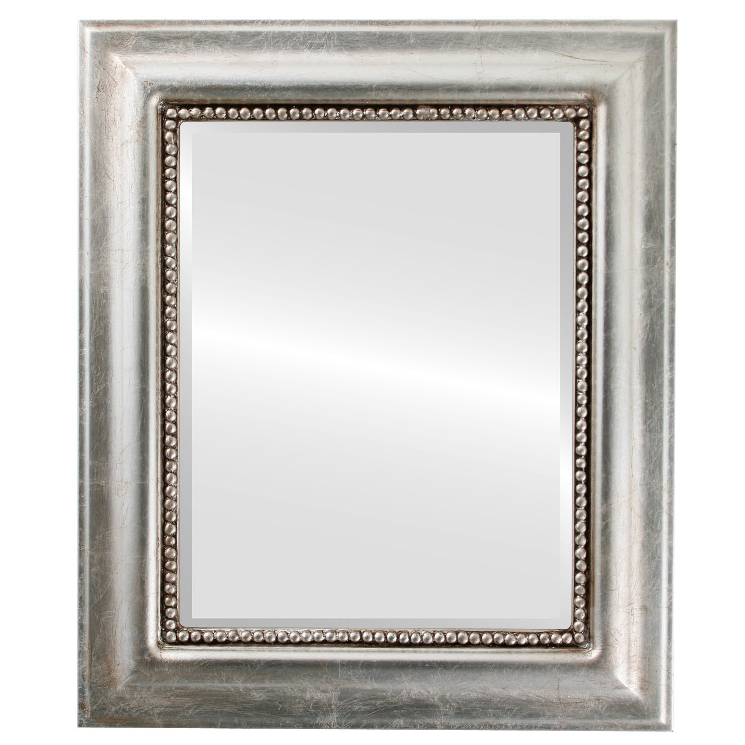 Rectangle Wall Mirror for Home Decor, Bedroom, Living Room, Bathroom |  Decorative Framed Beveled Mirror | Heritage Style - Silver Leaf with Brown  ...