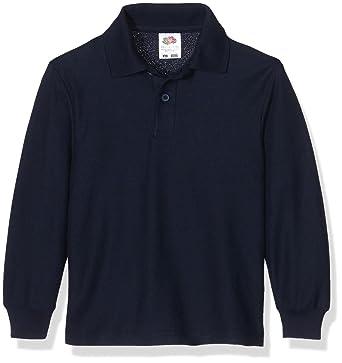 7943b63c9 Fruit of the Loom Girl's Boys Polo Longsleeve Shirt: Amazon.co.uk: Clothing