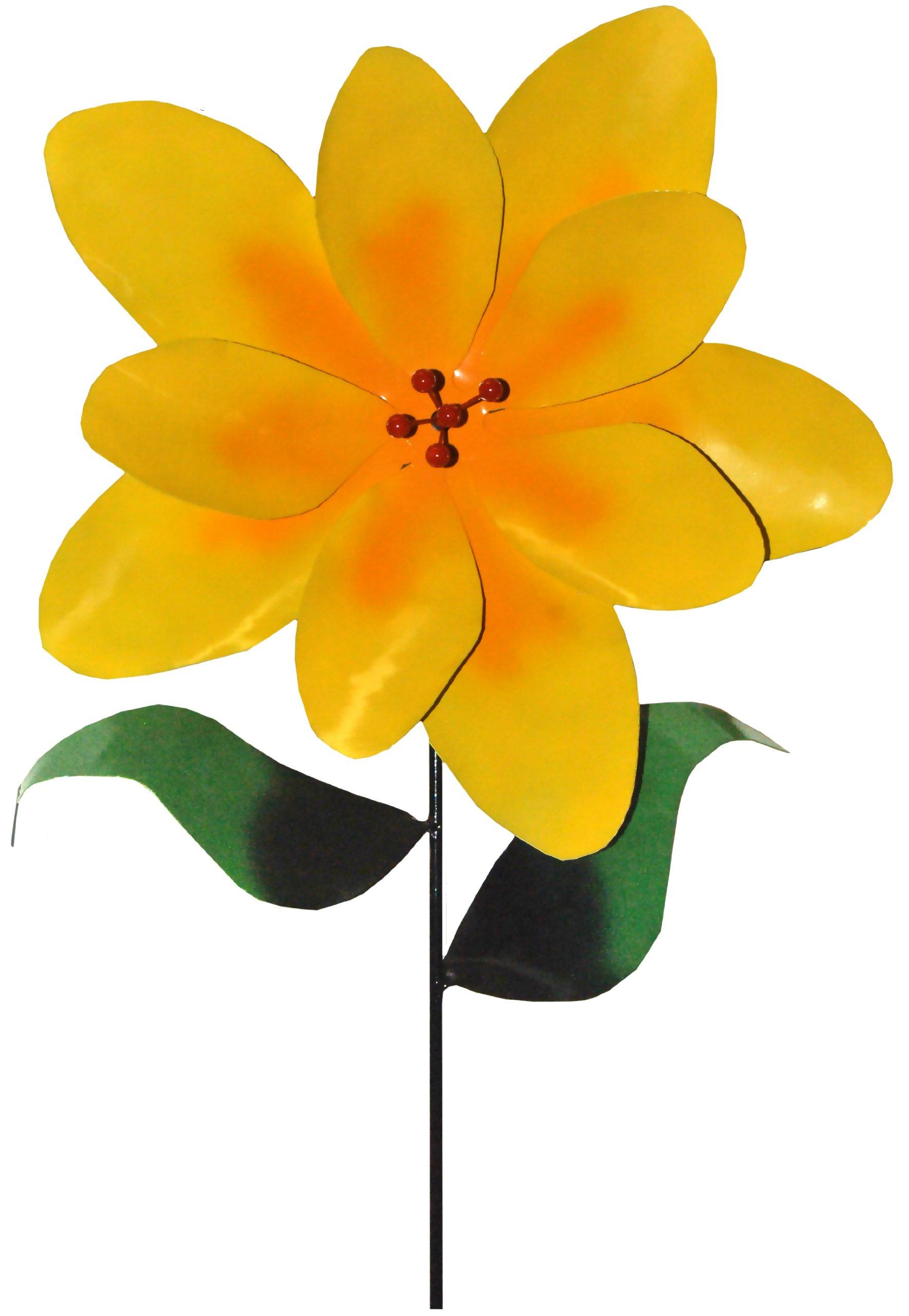 Steven Cooper Metalsmith AFLWR-18-XL Artificial Garden Flower on Footed Stake, 6-Feet, Yellow