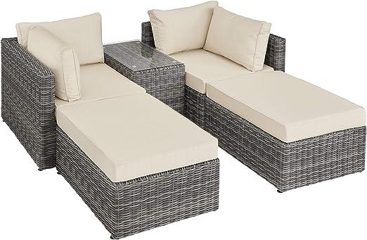 TecTake 800694 Sillón Doble de Ratán Aluminio, Muebles de Jardín, con Mesa, Multifunción, Combinación Versátil, Incl. Cojines (Gris | No. 403169): Amazon.es: Jardín
