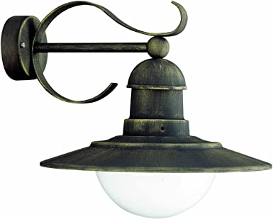 Massive Palermo Outdoor Wall Light Black And Gold Brushing Includes 1 X 60 Watts E27 Bulb Amazon De Beleuchtung