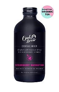 Owl's Brew Strawberry Manhattan Cocktail Mixer, 16 Ounce Bottle