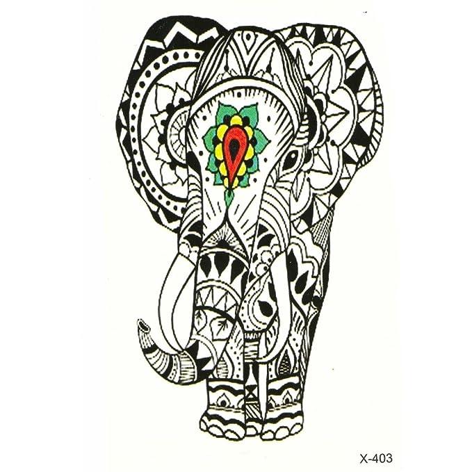 Just Fox – temporäres Tattoo elefante indio mandala: Amazon.es ...