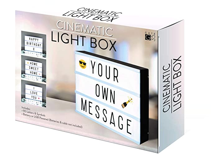 A4 cinematográfica caja de luz señal con letras y Emojis para fiestas, bodas, promoción, bebé hitos
