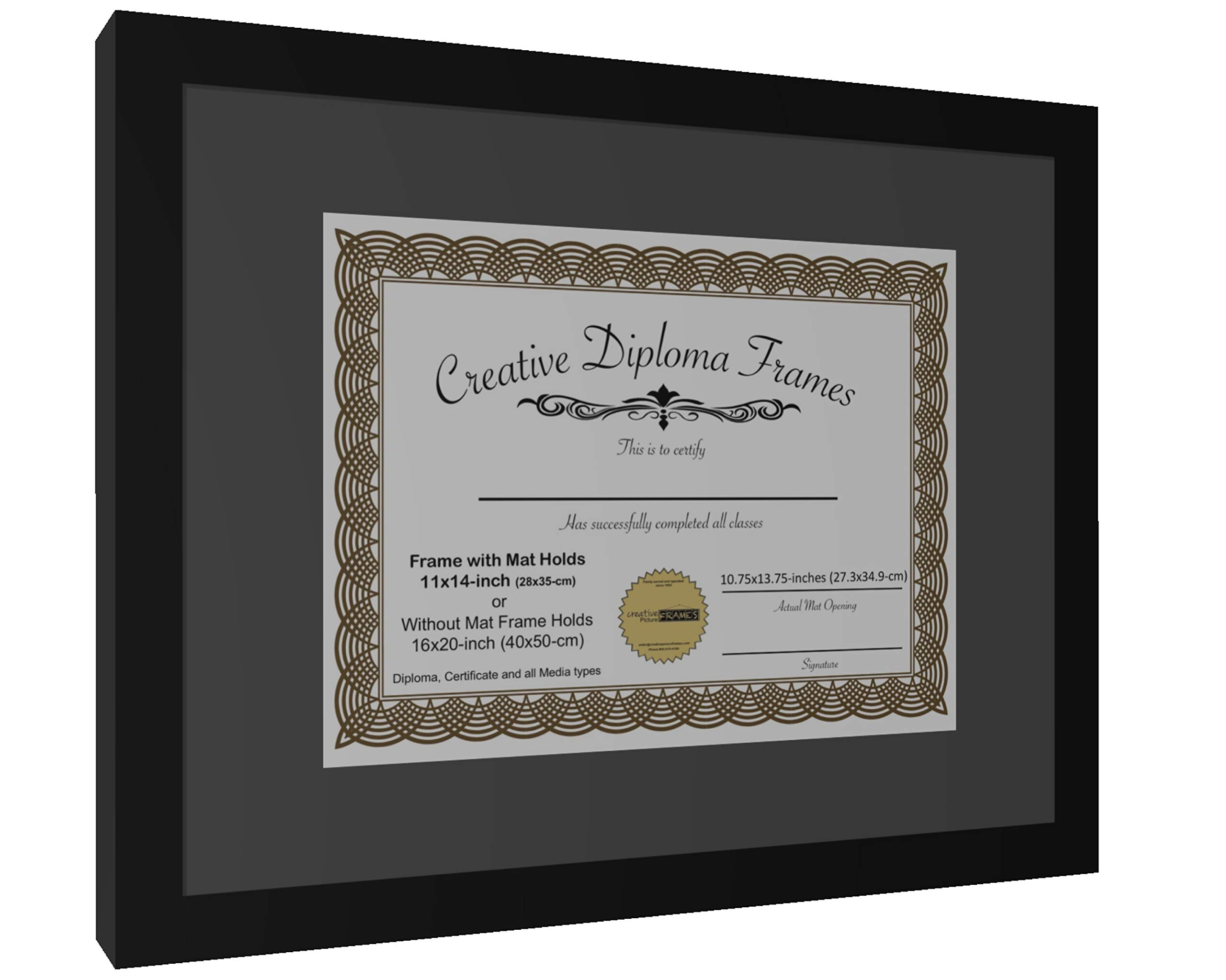 CreativePF [1620bk-b] Satin Black Large Diploma Frame with Black Mat Holds 14x17-inch Documents with Glass and Installed Wall Hanger by Creative Picture Frames (Image #2)