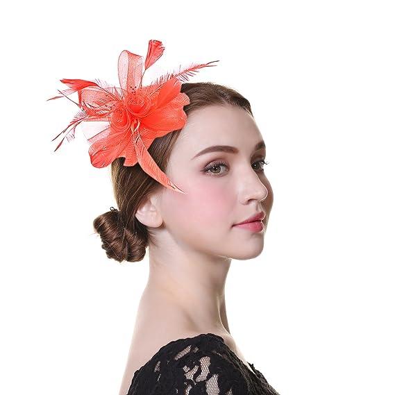 WELROG Women Fascinators Church Hat - Sinamay Tea Party Hats Feather  Headwear (red) 9e20527ea86