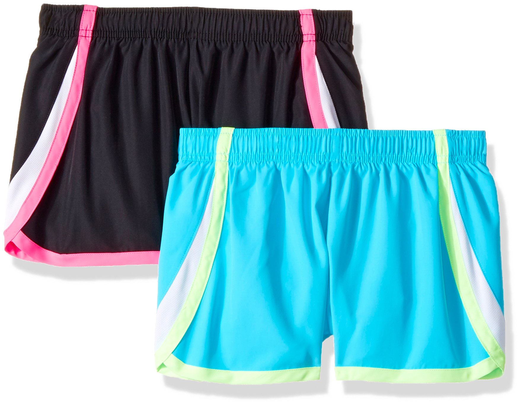 Hanes Big Girls' Sport Woven Performance Running Short (Pack of 2), Cool Me Blue/Black, S