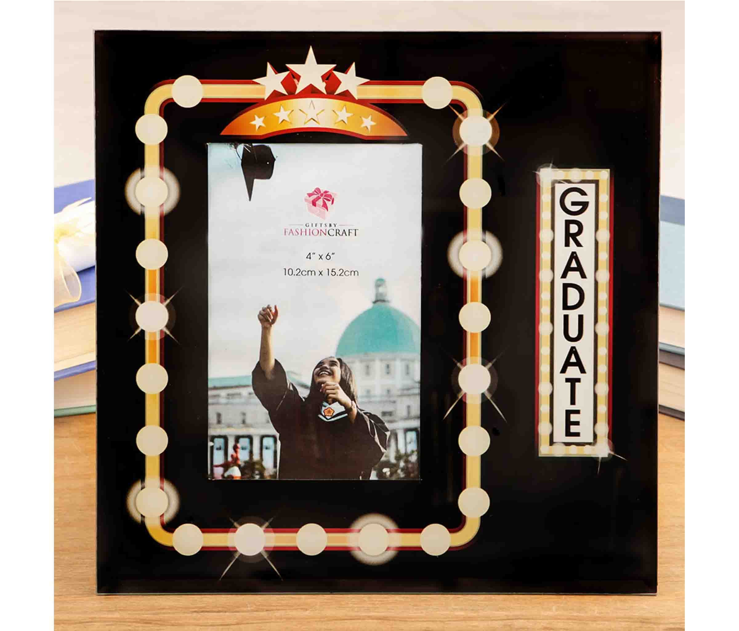 Mozlly Multipack - Fashioncraft Marquee Design Graduate 4x6 Glass Photo Frame - 9 x 9 inch - Velvet Back - Hollywood Style Lights and Stars - Home Decor Accents (Pack of 6)