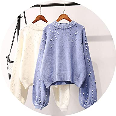 e42bd1460ab7 Winter Clothes Women O Neck Lazy Pearl Beading Sweater Loose Oversized Knit ,Blue,One