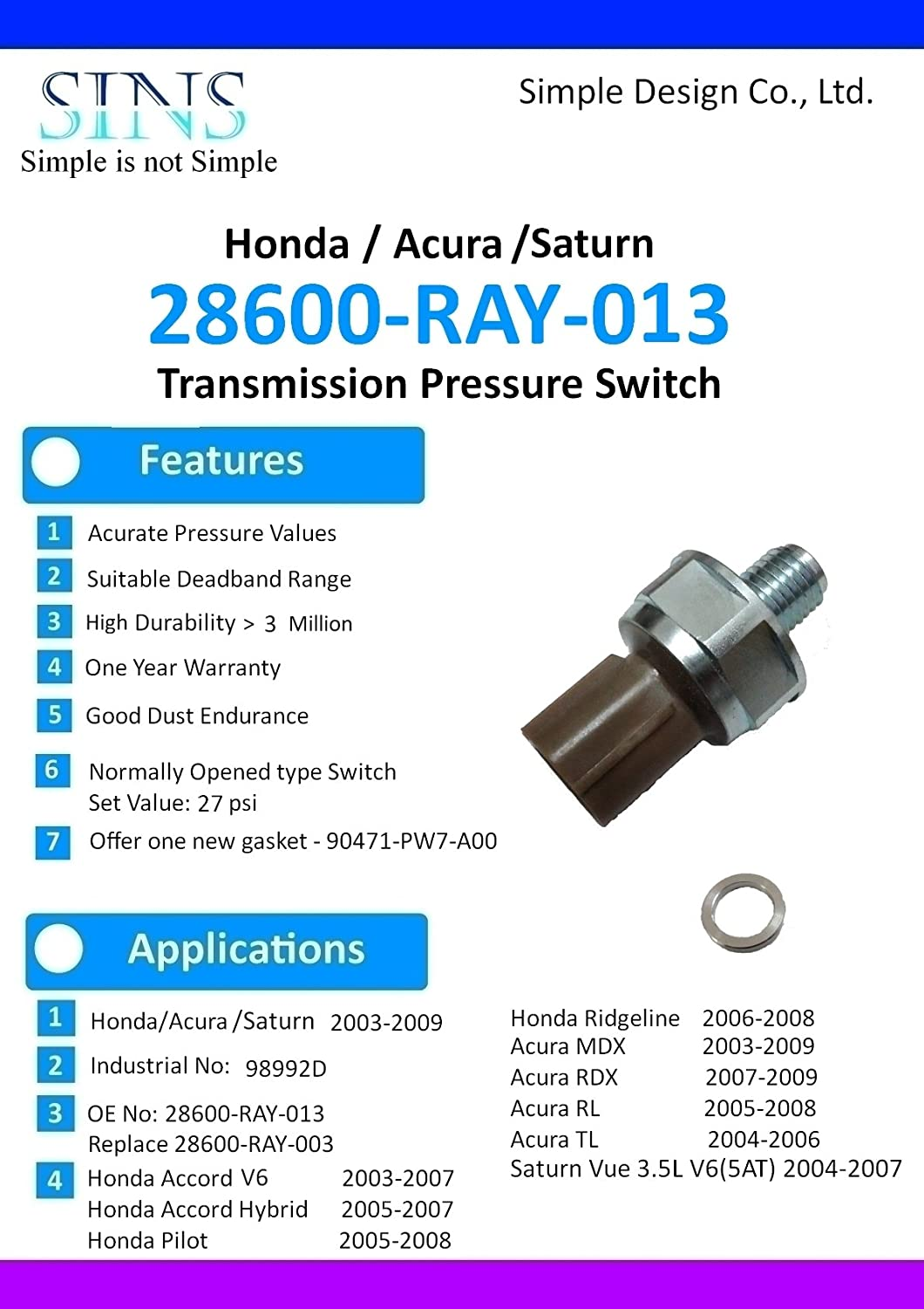 Honda Accord Pilot Ridgeline Acura Tl Mdx Rdx Rl Saturn Vue Cvt Transmission Rebuild 35l V6 Pressure Switch 28600 Ray 003 013 Automotive