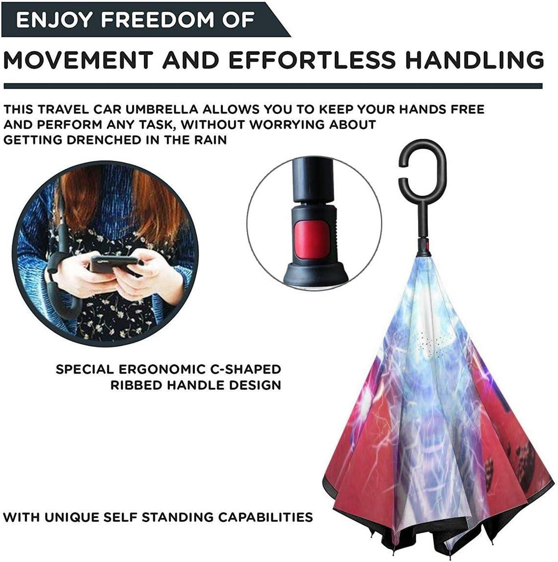 With C-Shaped Handle UV Protection Inverted Folding Umbrellas Iron Man Car Reverse Umbrella Windproof And Rainproof Double Folding Inverted Umbrella