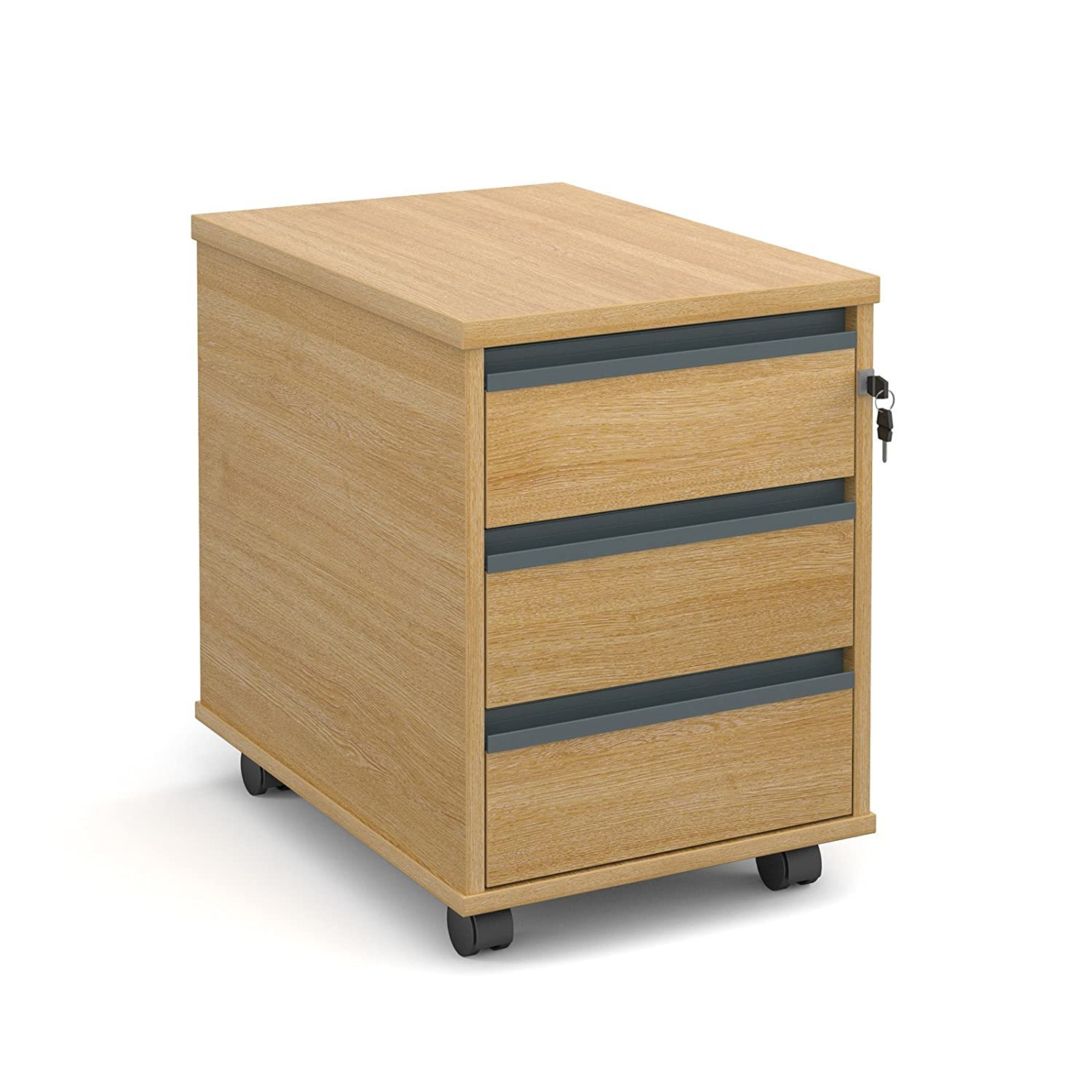 DAMS M25 3-Drawer Mobile Pedestal 1, Wood, Oak NAN300T1