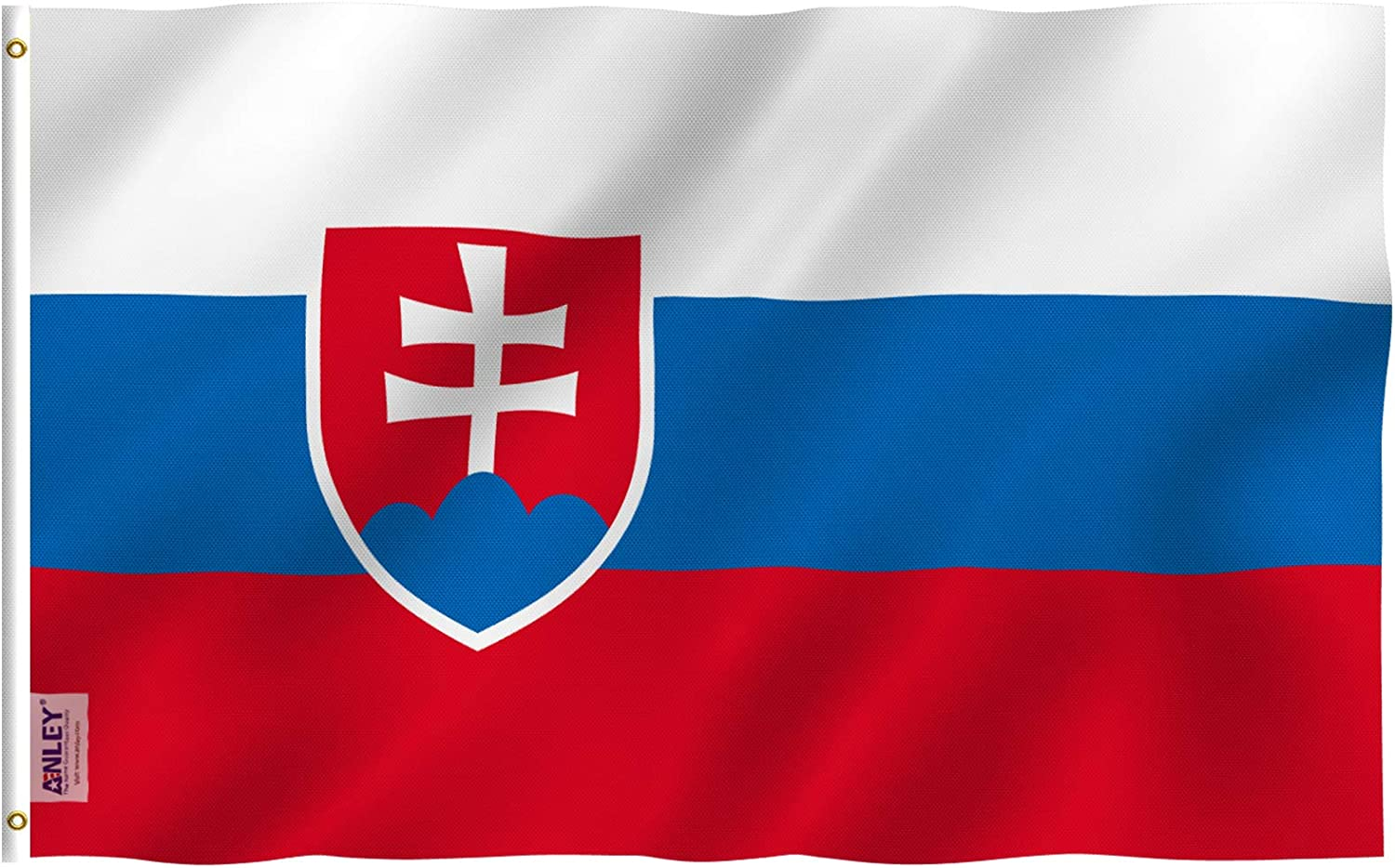 Anley Fly Breeze 3x5 Feet Slovakia Flag - Vivid Color and Fade Proof - Canvas Header and Double Stitched - Slovak Republic Flags Polyester with Brass Grommets 3 X 5 Ft