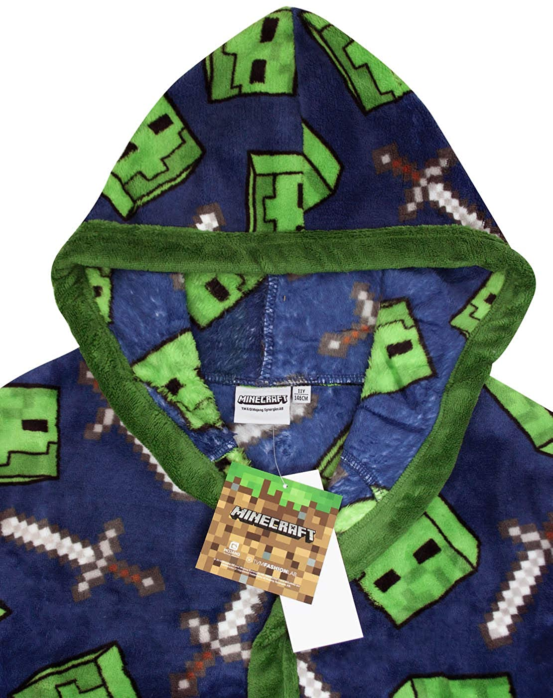 Minecraft All Over Creeper Boys Bathrobe Kids Dressing Gown Night Robe