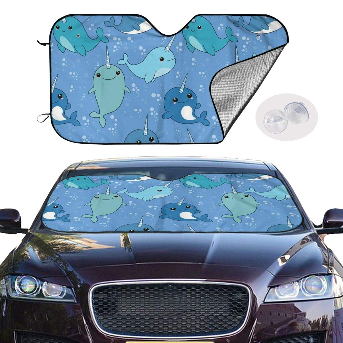 Windshield Sunshade for Car Foldable UV Ray Reflector Auto Front Window Sun Shade Visor Shield Cover, Keeps Vehicle Cool, Cute Narwhal by Sha-de