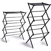 BINO 3-Tier Expandable Collapsing Foldable Laundry Drying Rack, Black