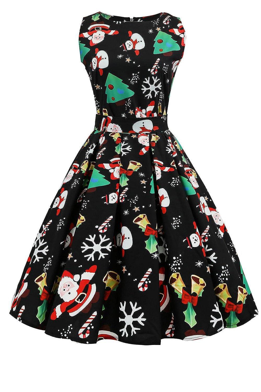 Women Vintage 1940s Hepburn Style Floral Print Swing Bowknot Zipper Christmas Dress CAFEJRM011