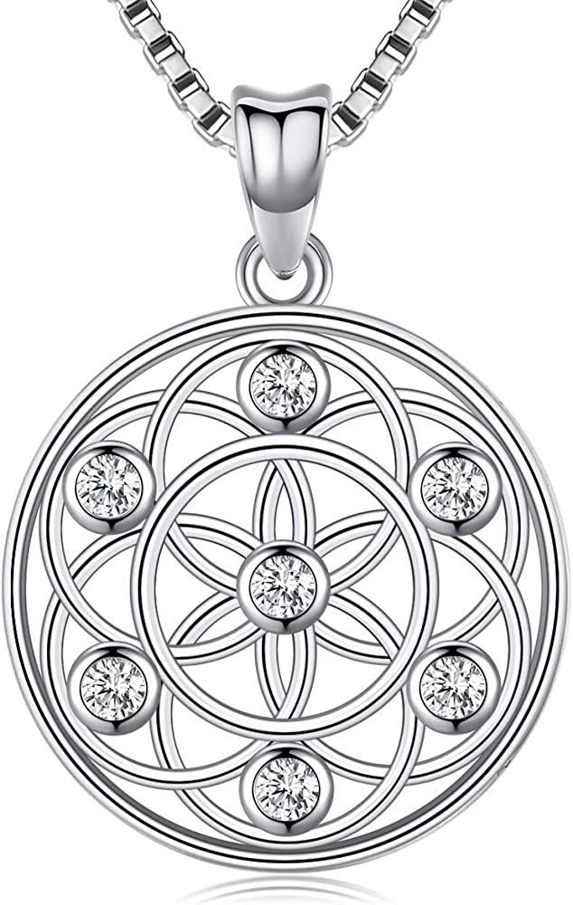 Sterling Silver Seed of Life Necklace .925 Sacred Geometry Necklace Yoga Gift Flower of Life Necklace Sacred Geometry Gift Spiritual Gift