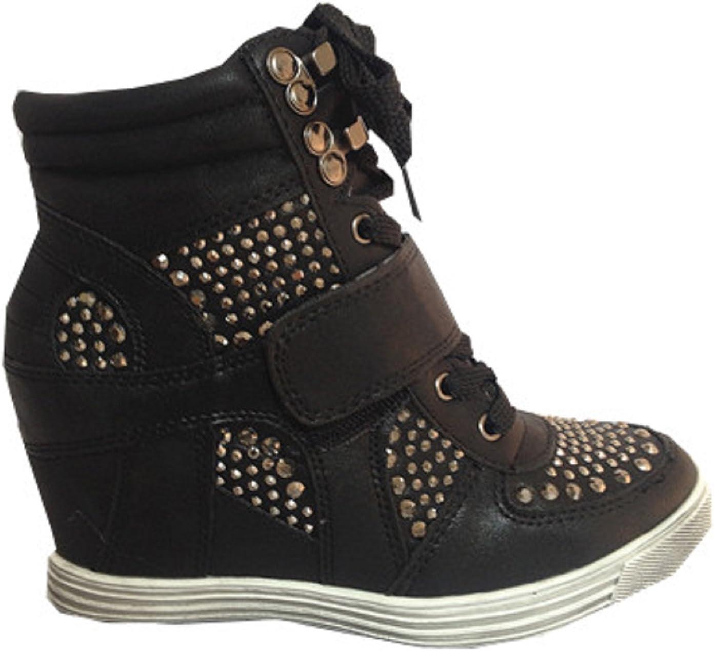 fashionfolie Baskets compensées Montante Talon Chaussures Femme Fille Lacet Noir 12