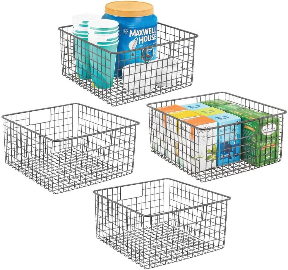 "mDesign Farmhouse Decor Metal Wire Food Storage Organizer, Bin Basket with Handles for Kitchen Cabinets, Pantry, Bathroom, Laundry Room, Closets, Garage - 12"" x 12"" x 6"" - 4 Pack - Graphite Gray"