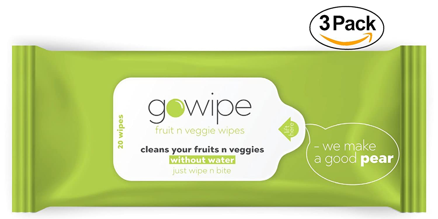 GoWiPe 's Fruit N Veggie Wipesパックof 3 B07C8J1HBG