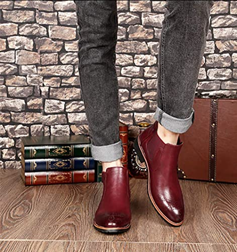 NEOKER Stiefel Herren Chelsea Boots Leder Retro Business Stiefelette Klassische Brogues Elegant Schuhe Herbst Gefüttert Winter Schwarz Braun Rot 37 44