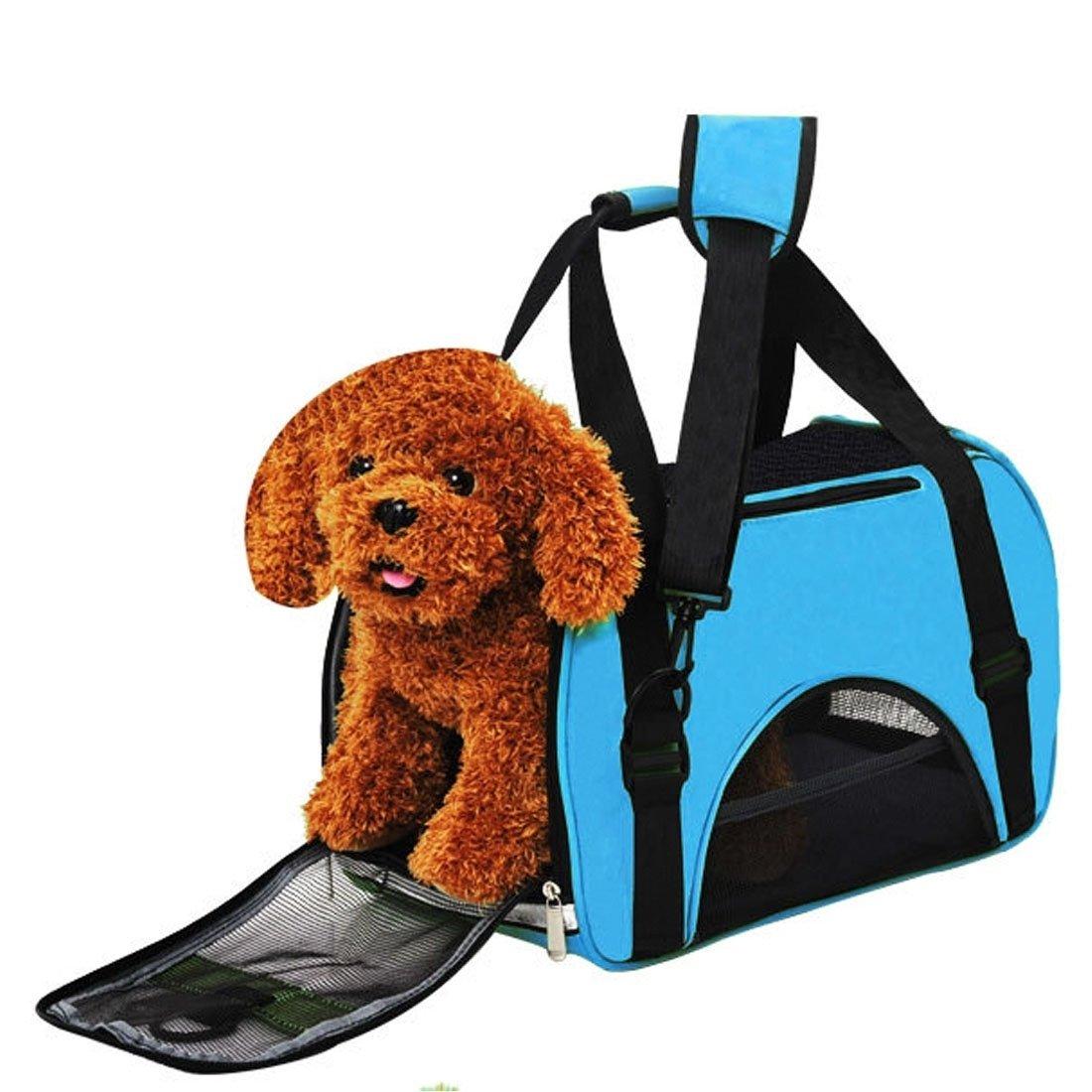 Xinanlongjb Bolso de hombro para gato/perro y otras mascotas Bolso de mascota portátil grande y resistente al agua (Color : Blue)