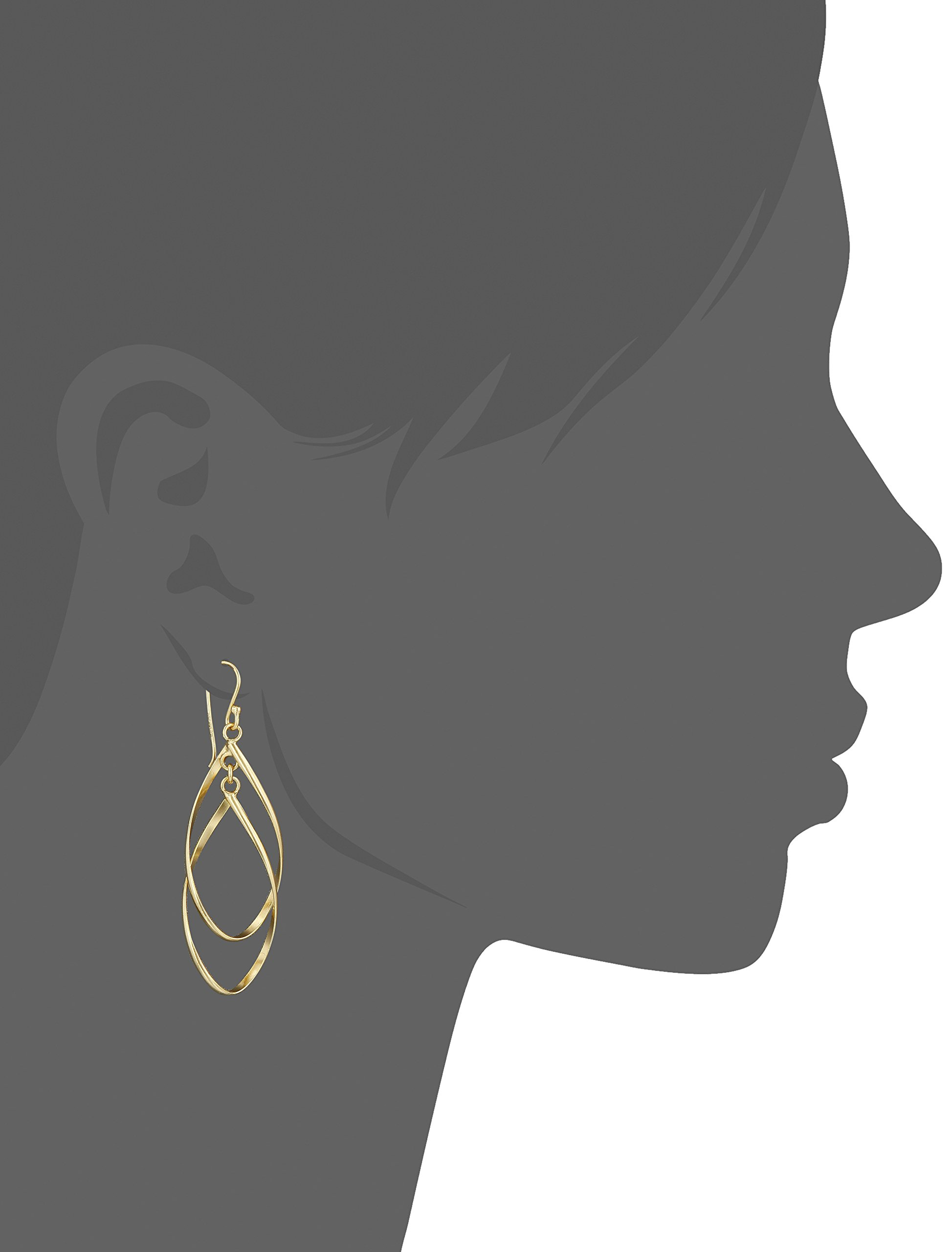 Gold Plated Sterling Silver Double Elongated Oval Twist French Wire Drop Earrings by Amazon Collection (Image #2)