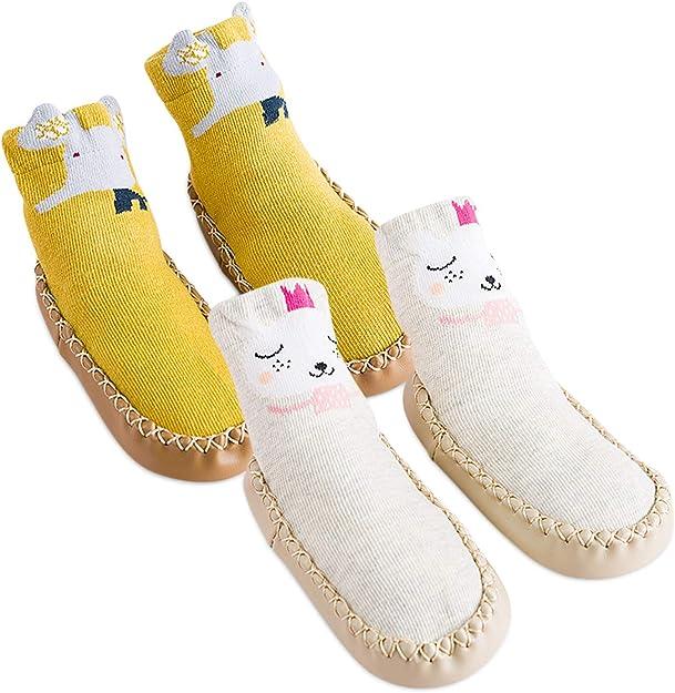 DORRISO 2 Pares Calcetines Bebe para Recien Nacido Antideslizante Zapatillas Linda Animado Algodón Multicolor