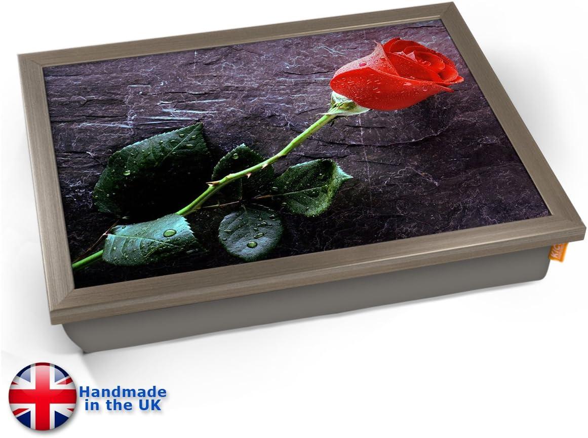 Chrome Effekt Rahmen Red Rose Valentine Flower Cushion Lap Tray Kissen Tablett Knietablett Kissentablett
