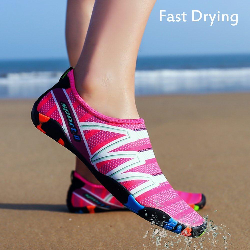 PADGENE Chaussures Aquatiques Homme Femme Chaussures deau Mixte Adulte Chaussures de Plage Chaussures de Yoga Plong/ée Piscine Sport