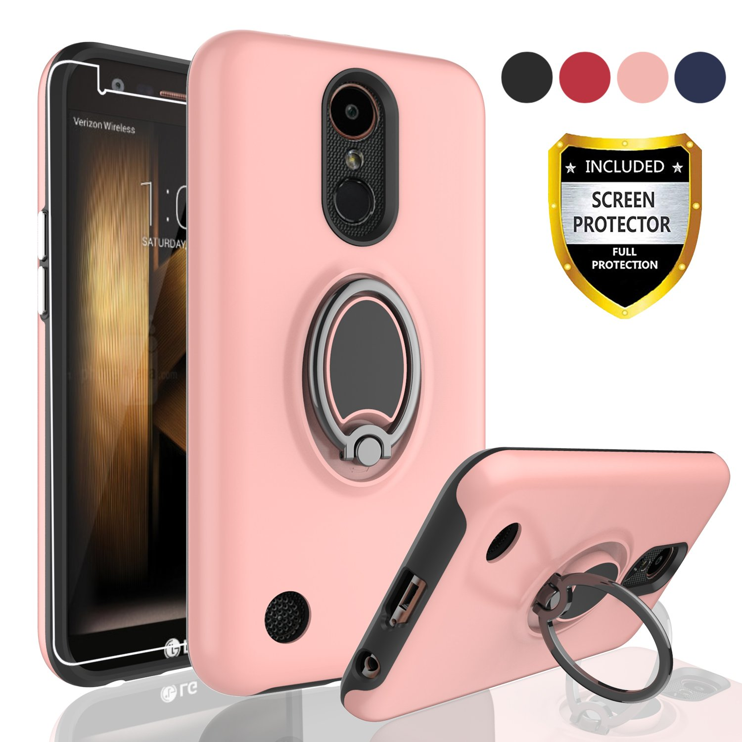 AYMECL LG K20 Plus Phones Cases,LG Harmony/LG K20/LG K20V/LG VS501/LG K10 2017/LG Grace LTE Case with HD Screen Protector,Rotating Ring Holder Dual Layer Shock Bumper Cover for LG LV5-GH Rose Gold