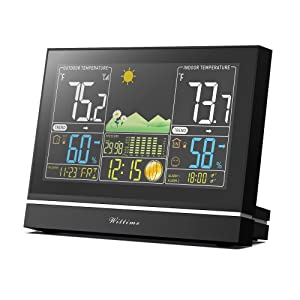 Wittime 2076 Weather Station Wireless Indoor Outdoor Thermometer Hygrometer Barometer, Digital Inside Outside Humidity and Temperature Monitor with Color LCD Screen,Remote Sensor Included