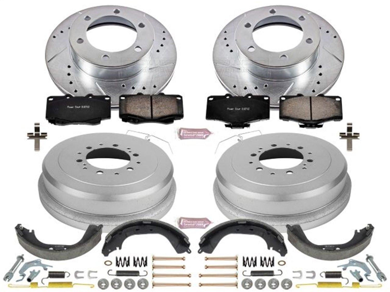 Power Stop K15095DK Front /& Rear Brake Kit with Drilled//Slotted Brake Rotors and Z23 Evolution Ceramic Brake Pads