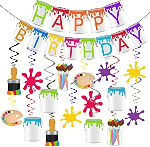 Art Party Decorations, Art Happy Birthday Banner, Art Party Supplies Painting Party Hanging Swirls Decorations Painting Party Supplies