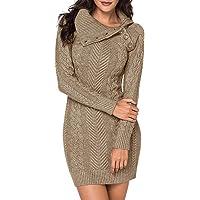 CORAFRITZ - Vestido informal de invierno de manga larga para mujer, color liso, cuello alto, con tapeta de botones…