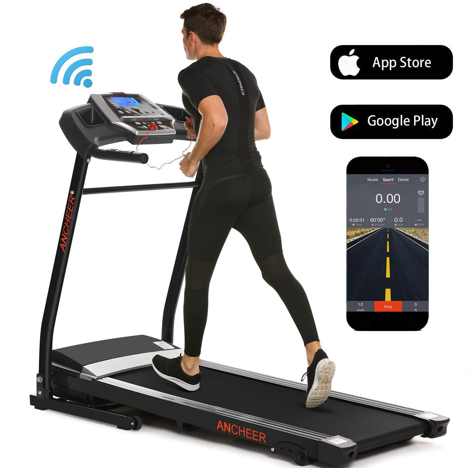ANCHEER Folding Treadmill – Treadmills for Home Running Jogging Walking Electric Motorized Machine with Incline – Fitness Gym Cardio Workout Equipment with Speakers 12 Preset Programs, APP Control