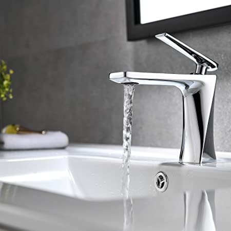 Chrome Polish Deck Mounted Bathroom Sink Mixer Tap Curved Outlet Bathtub Faucet