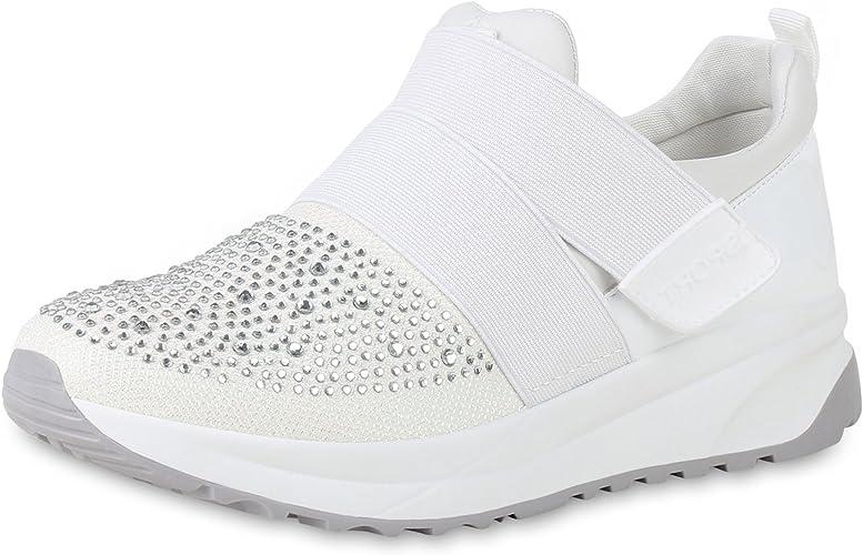 SCARPE VITA Damen Plateau Sneaker mit Keilabsatz Lack Strass