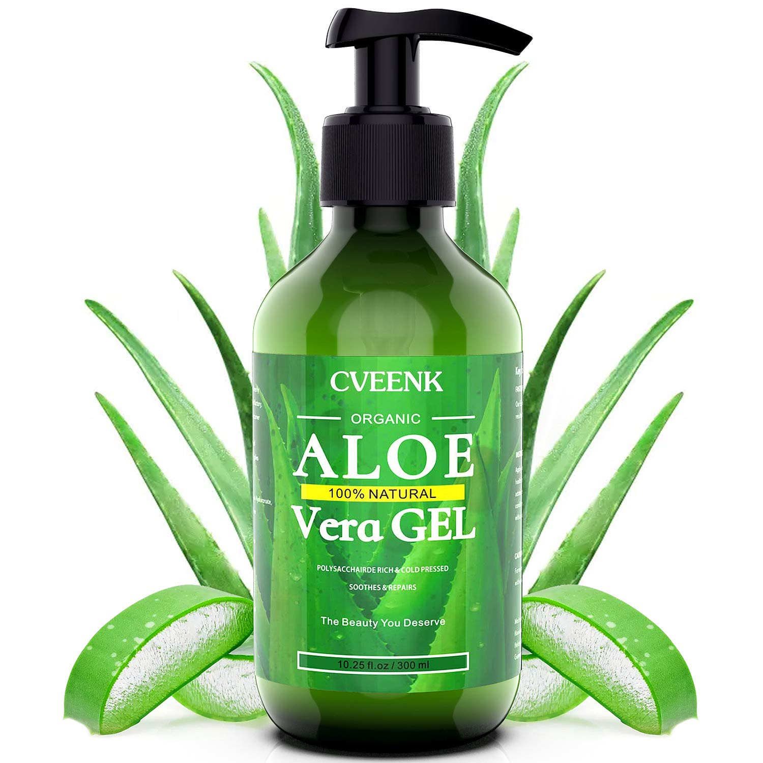 CVEENK Aloe Vera Gel, 10oz 300ml Organic Aloe Vera Moisturizing Gel, 100% Natural Hydrating Skin Cooling Soothing Aloe Gel, Pure Aloe Plant for Face, Body, Hair, Sunburn, Bites, Rashes, Sensitive Skin