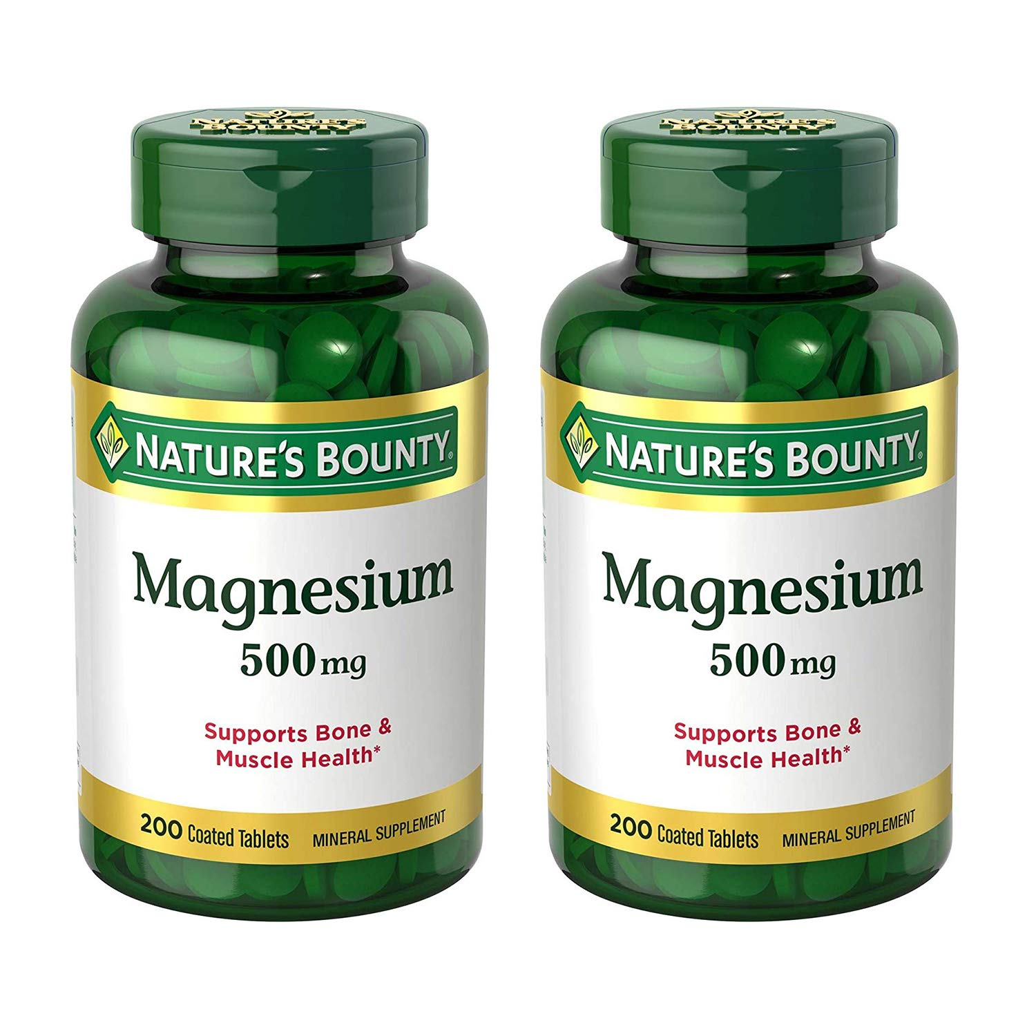Nature's Bounty Magnesium 500 mg, 200 Tablets (2 Pack)